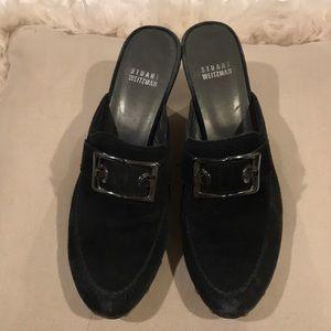 Stuart Weitzman Black Slip-on Heels